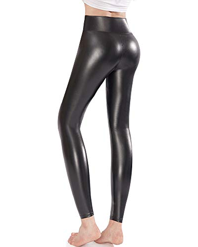 Ginasy Faux Leather Leggings Pants Stretchy High Waisted Tights for Women Black