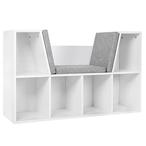MUPATER Kids Reading Nook Organizer with Storage Bookshelf and Detachable Cushions, 6-Cubby Bookcase Cabinet for Kids Room and Bedroom, White