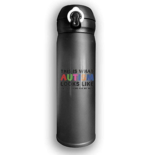 Bestqe Borraccia in Acciaio Inox,Thermos,Termica Isolamento This Is What Autism Looks Like Stainless Steel Mug 17 OZ Double Walled Vacuum Insulated Water Bottles