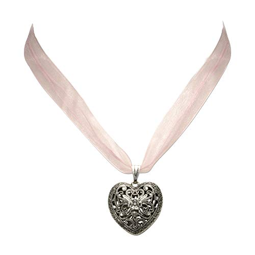 Heimatflüstern Trachtenkette Organzaband mit Trachtenherz - Damen Dirndlkette, Herz Organzakette für Trachtenbluse und Lederhose, Dirndl-Schmuck fürs Oktoberfest (rosé)