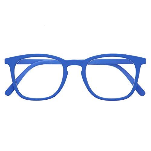 Blaulichtfilter Brille für Damen und Herren. Blaufilter Brille mit stärke oder ohne sehstärke für Gaming oder Pc. Gummi-Touch-Tempel und Blendschutzgläser. Klein +3.0 – TATE