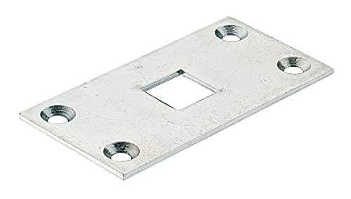 JUVA Schließblech für Tor-Treibriegel und Boden-Riegel - H10316 | Stahl verzinkt | Stangenführung für 13 mm Stangen | MADE IN GERMANY | 1 Stück - Stangen-Bodenplatte zur Tor Verriegelung