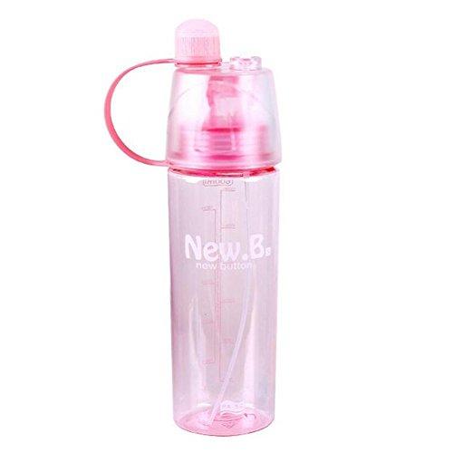 valgens 600 ml Bouteille d'eau Sports d'extérieur Tasse en plastique Vaporisateur d'été étudiants personnalité Bouilloire, Rose