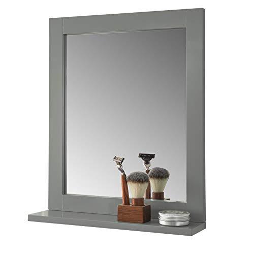 SoBuy FRG129-SG Spiegel Wandspiegel Badspiegel mit Ablage dunkelgrau BHT: 40x50x10cm