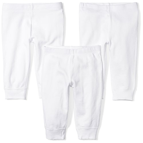 Moon and Back Baby Set of 3 Organic Pants, White Cloud, Preemie