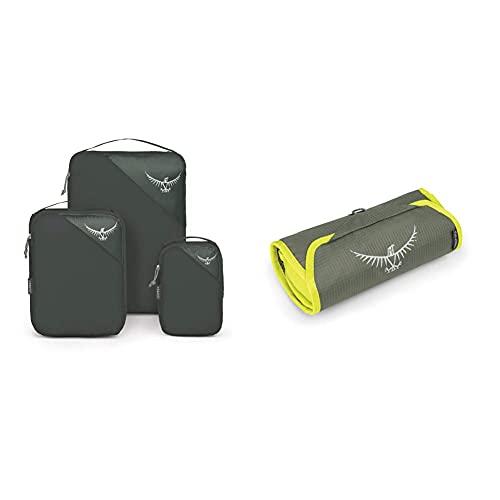 Osprey Ultralight Packing Cube Set, Custodia Unisex – Adulto, Shadow Grey, S/M/L & Ultralight Washbag Roll - Electric Lime
