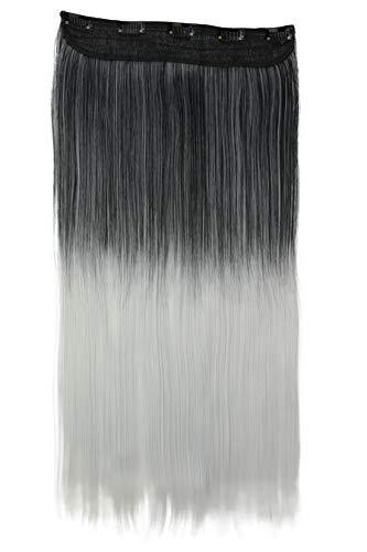 PRETTYSHOP Clip In Extensions Haarverlängerung Haarteil Glatt 60cm ombré grau mix #1Tgray C73
