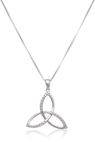 Elmas Jewelry Sterling Silver 0.04 Carat Round (I-J Color, I3 Clarity) White Diamond Celtic Trinity Knot Pendant Necklace for Women