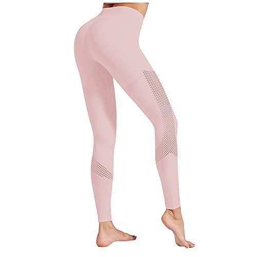 Pantalón Deportivos Color Sólido con Costura de Malla Pantalones de Levante los Cadera de Cintura Alta Leggins Transpirables Elásticos Leggings Casual Verano Mallas de Yoga para Correr Gym Fitness