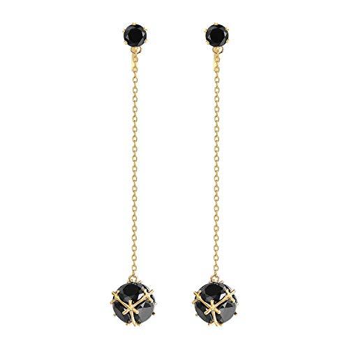 Yoursfs - Orecchini a clip, da donna, con catena lunga, elegante, per matrimonio e Fede, colore: nero, cod. E044Y1-US