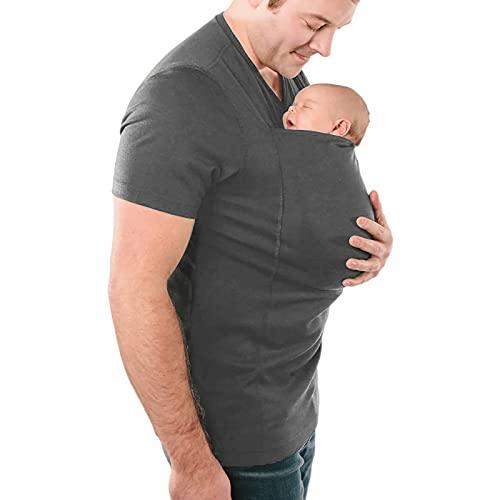 G&F Multifunción Papá Canguro Camisetas Manos Libres Gran Bolsillo Tops Piel con Piel (Color : Gray, Size : XXL)