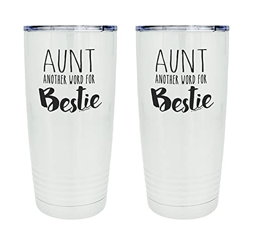 Best Aunt Ever Gifts For Aunt Another Word For Bestie 2-Pack 20oz Stainless Steel Insulated Travel Mug With Lid
