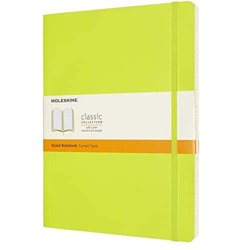 Moleskine - Classic Notebook, Taccuino a Righe, Copertina Morbida e Chiusura ad Elastico, Formato XL 19 x 25 cm, Colore Verde Limone, 192 Pagine