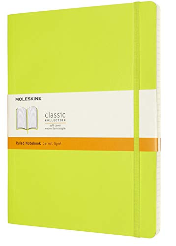"""Moleskine Classic Notebook, Soft Cover, XL (7.5"""" x 9.5"""") Ruled/Lined, Lemon Green, 192 Pages"""