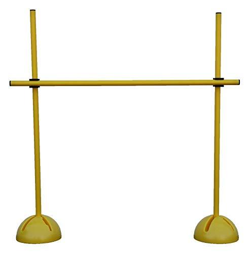 Sprungstangen-Set für effektives und vielseitiges Training - Sprungkraft, Dribbling und Beweglichkeit - Standfüße sind mit Sand befüllbar - (3 gelbe Stangen, 2 gelbe X-Standfüße, 2 Clips), Gelb, One Size - XS100yc