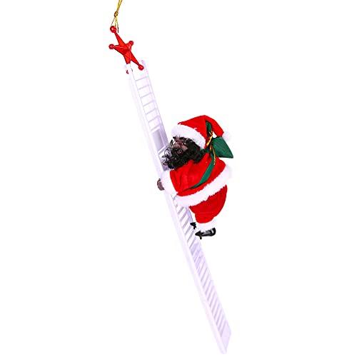Wikay Escalera eléctrica de Escalada de Papá Noel Juguete eléctrico de la Que Sube de Papá Noel,Campanas Musicales eléctricas Escalera de Escalada Juguete de Papá Noel Juguete de Adorno de estatuilla