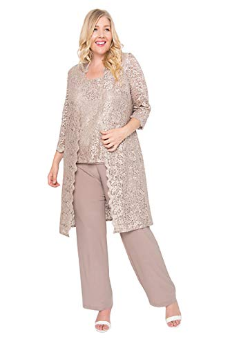 R&M Richards Mother of The Bride Plus Size Pant Suit Champagne 18W
