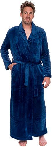 Ross Michaels Mens Long Robe - Full Length Big & Tall Bathrobe (Navy, XXL)