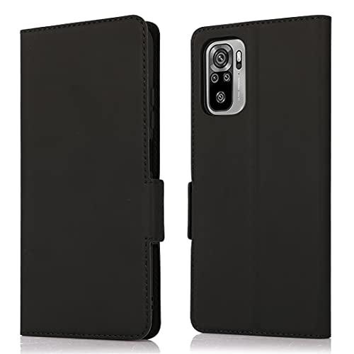 HTDELEC Funda de teléfono móvil para Xiaomi Redmi Note 10 4G, ultra fina, funda con tapa negra, con ranura para tarjetas y cierre magnético, piel tipo libro, para Xiaomi Redmi Note 10 4G, colo