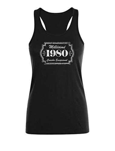 Camiseta sin Mangas para Mujer - Regalo Cumpleaños Mujer, 40 Cumpleaños - Millésimé 1980 Cosecha Excepcional Small Negro