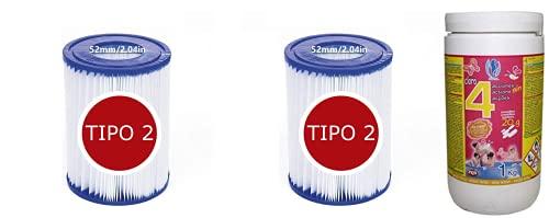 Cloro 4 ACCIONES 1KG Pastillas DE 20 Gramos + Bestway - Cartucho...