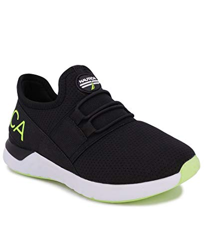 Nautica Kids Youth Sneaker Athletic Slip-On Bungee Running Shoes Boy - Girl Little Kid-Big Kid-Neave Youth-Black Lime Logo-3