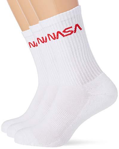 Mister Tee Herren NASA Worm Logo 3-Pack Socken, Weiß (Wht/Wht/Wht 01205), (Herstellergröße: 43/46)