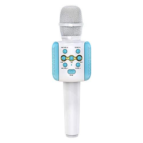Micrófono para adultos y niños, micrófono Bluetooth de karaoke 4 en 1, altavoz portátil con iluminación colorida de 6 colores, soporte para fiestas, compatible con dispositivos Android e Ios