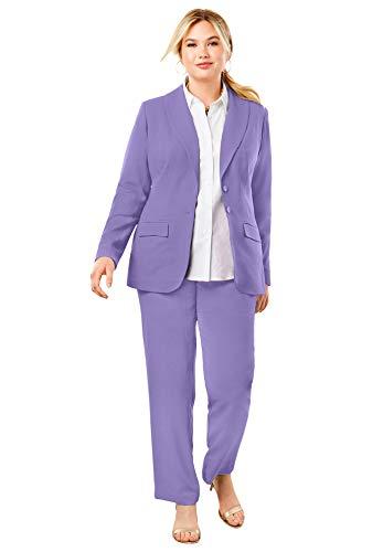 Jessica London Women's Plus Size Single Breasted Pant Suit Set - 20 W, Vintage Lavender