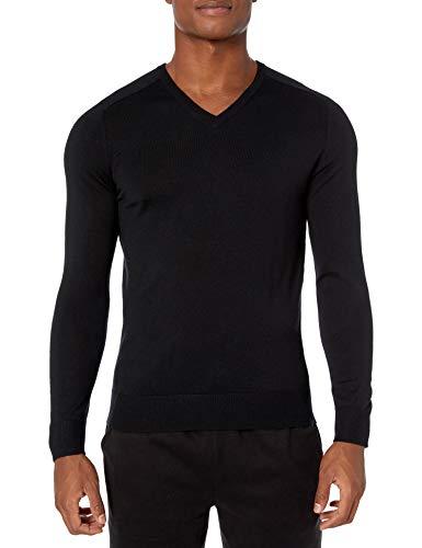 Amazon Brand - Peak Velocity Men's V-Neck Merino Wool Thermolite Sweater, black, Large
