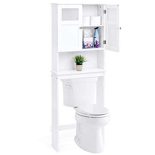Best Choice Products Wooden Over-The-Toilet Space Saving Cabinet Shelf Tower Rack for Linens Toiletry White