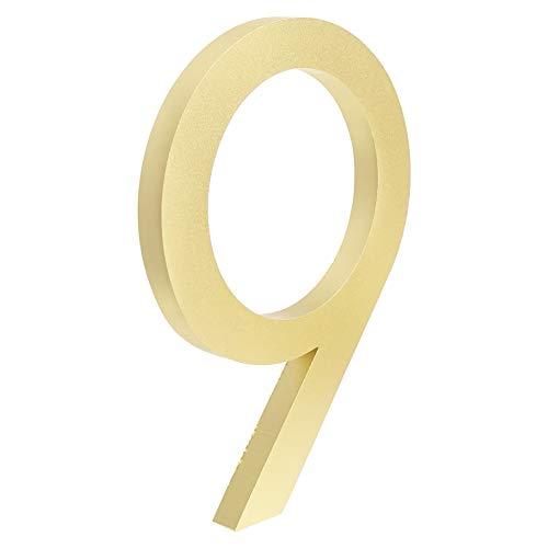 KSHYE Big Flotante Casa Número Signo de Oro 15 cm Moderno Señalización Edificio Al Aire Libre Huisnummer Numeros Casa Números de Puerta Placa de dirección (Color : 9, Size : 10cm)
