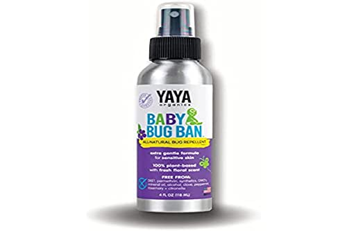 YAYA ORGANICS BABY BUG BAN – All-Natural, Proven Effective Repellent for Babies, Children and Sensitive Skin (4 ounce spray)