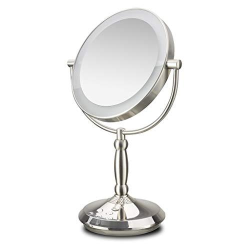 Miroir JT- Haut-Parleur Bluetooth de de Maquillage Intelligent à éclairage de Remplissage LED de Table à Double Face de Bureau Petit et Pratique (Color : Gold)