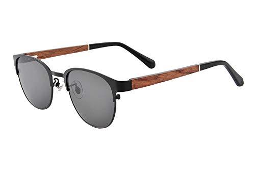 Gafas de sol Madera macho polarizado hombres gafas myopia gafas graduadas marcos hombres pescar Aplicar al trabajo por computadora o conducir y otras actividades al aire libre-c1_grey_lens_myopia_100