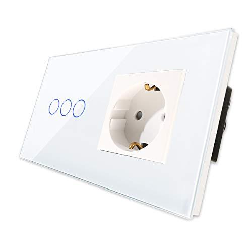 CNBINGO Enchufe Schuko con interruptor de luz triple, con panel táctil de cristal y LED de estado, interruptor de 3 vías, interruptor táctil blanco y enchufe, conductor neutro no se necesita