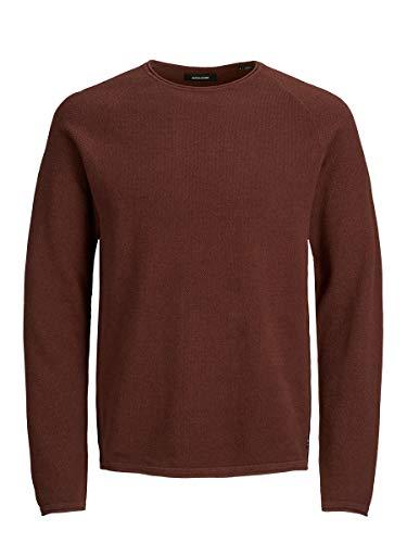 Jack & Jones JJEHILL Knit Crew Neck Noos Sweater, Fondant au Chocolat, XL Homme