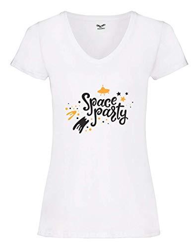 Camiseta V – Space Party Nave Espacial Estrellas – Camiseta para Mujer con Cuello en V Blanco S