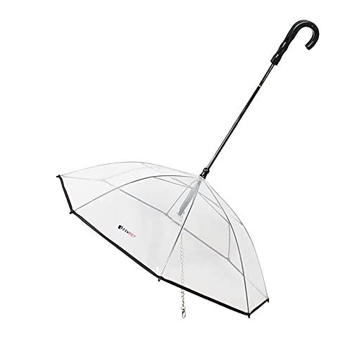 FXforer Paraguas transparente para mascotas con correa a prueba de lluvia y nieve, para perros pequeños