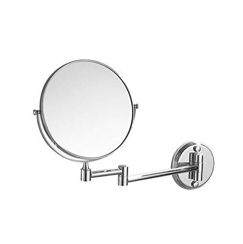 Bath Miroirs de Salle de Bains muraux Beauty Mirror - Miroirs de Rasage rabattables à Extension Double Face, Bronze, pour grossissement 3X,Silver_6inch