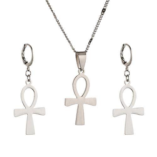 Cruz egipcia de acero inoxidable Vintage La llave del Nilo Ankh Cruz colgante collar pendientes conjuntos de joyas-Silver_Plated_50cm