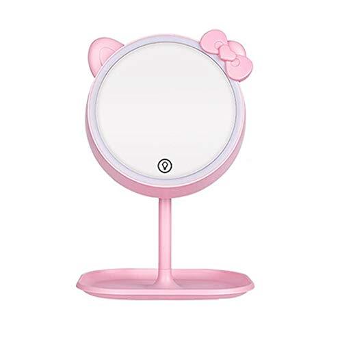 JINBAO Espejo de Maquillaje con Lámpara Lámpara de Mesa Ajuste Táctil Inteligente Estilo de Carga Espejo de Vestir Gato Rosa [luz de Tres Colores]