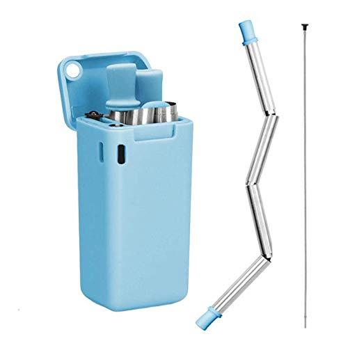 LOBKIN Pajitas Plegable de Acero Inoxidable Reutilizable, compuesta de Acero Inoxidable y Silicona de Grado alimenticio, portátil con Soporte para Estuche rígido y Cepillo de Limpieza (Azul)