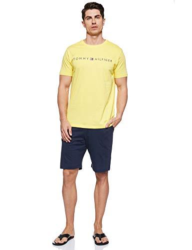 Tommy Hilfiger Herren Cn Ss Short Jersey Set Zweiteiliger Schlafanzug, Gelb, Large (Herstellergröße:)