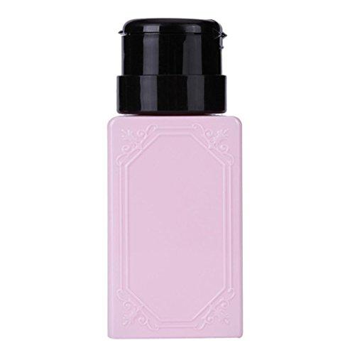 Vovotrade ❃❃Liquid Alcool Presse Vernis à ongles Remover Distributeur Pompage Cleaner Bouteille (Rose)