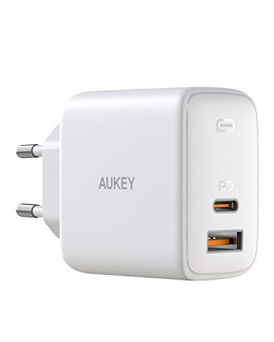 AUKEY USB C Caricatore 65W, Omnia Alimentatore USB con GaNFast Tech & Dynamic Detect, Caricabatterie da Muro Power Delivery 3.0 per 13''MacBook PRO/iPad PRO/iPhone 12/Google/Nintendo Switch/Samsung