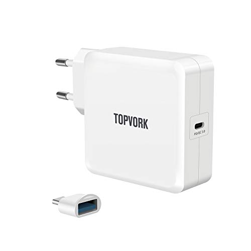 SUNYDEAL TOPVORK USB C Ladegerät, 65W Wandladegerät mit Power Delivery 3.0 für Lenovo/Dell/Xiaomi Air/Huawei Matebook/HP Spectre/Thinkpad Nintendo-Switch, andere Typ C Laptop, Typ C Smartphones