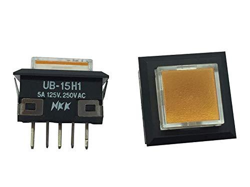 Japan NKK UB-15H1 Interruptor táctil cuadrado 18x18 botón iluminado amarillo luz reset botón