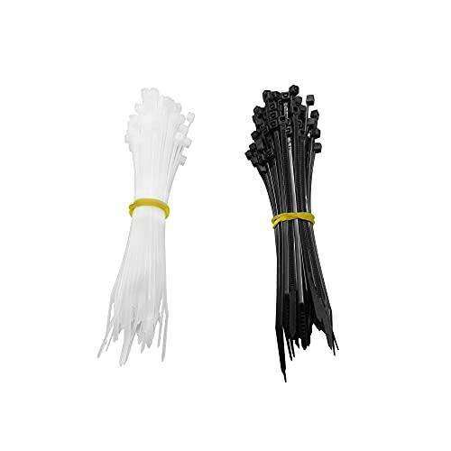 Cable Ties High Tensile Strength Zip Ties Indoor and Outdoor Black Zip Ties 18lb Strength UV resistance 4 Inch Black and White 100 Pieces Each