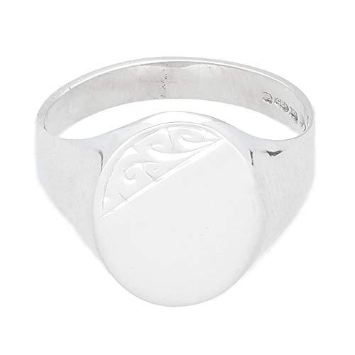 Jollys Jewellers Anillo de plata de ley oval para hombre (tamaño Z) 14 x 18 mm cabeza